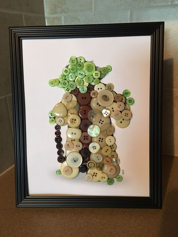 Star Wars Inspired Yoda Silhouette Button Art In Frame.  | eBay