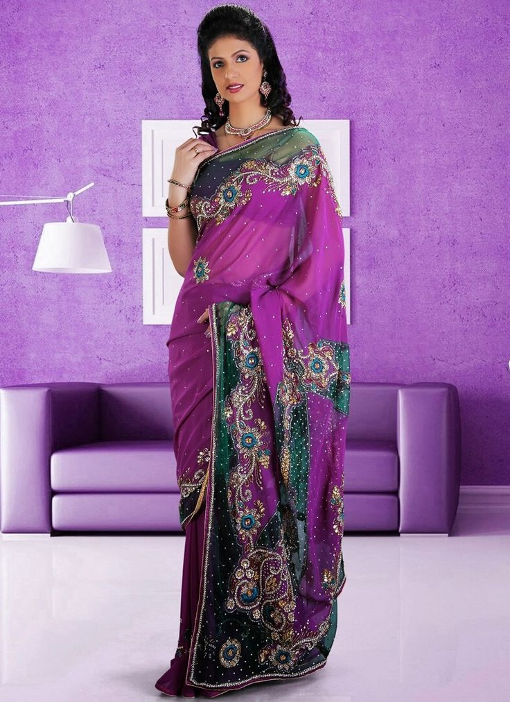 Its A Master Piece In Its Class Glorifying Your Timeless Beauty. Outstanding Craftmanship Of Embellishments Exhibited In This Violet Chiffon Saree. This Attire Is Beautifully Adorned With Cutdana, Resham, Sequins & Stones Work.