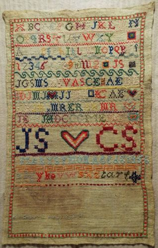 EARLY 19TH CENTURY LINEN & WOOL SAMPLER BY MARY SYMON AGED 8 1856