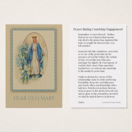 Courtship / Engagement Prayer to Mary Holy Card - engagement gifts ideas diy special unique personalize