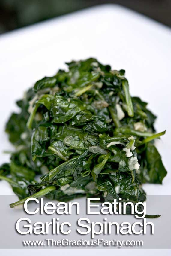 Clean Eating Garlic Spinach - No other spinach recipe necessary. This rocks.    Ingredients  1 large shallot, diced  3 cloves garlic, diced  1 tbsp. olive oil  4 cups fresh spinach  Directions  Step 1 – Place the shallot and garlic in a pan with the olive oil and sauté for 1-2 minutes.   Step 2 – Add the spinach and cook until it is properly wilted.    Eat and Enjoy!