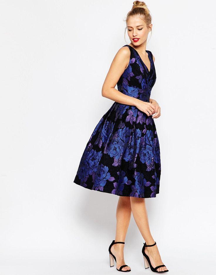 asos blue rose jacquard midi prom dress at asos com