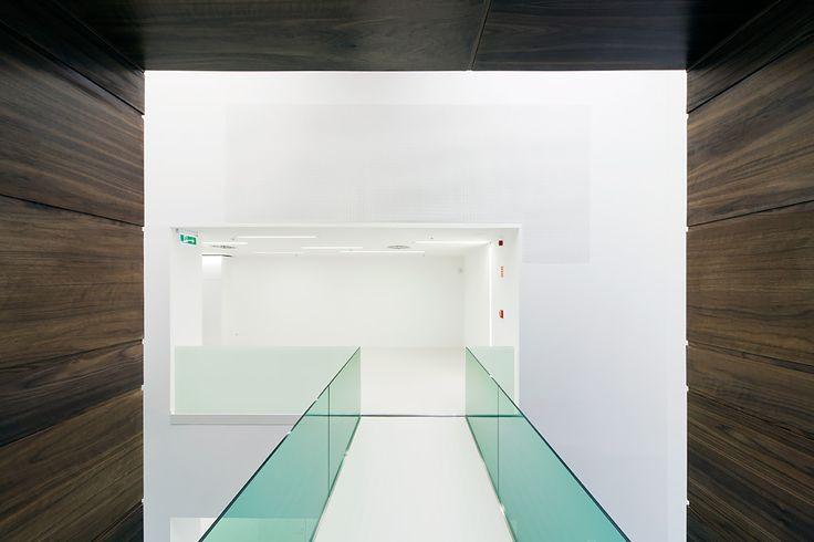 Sauflon Centre of Innovation | Foldes Architects | www.foldesarchitects.hu | #innovation #centre #architecture #interior #glass #wood #reflection #bridge