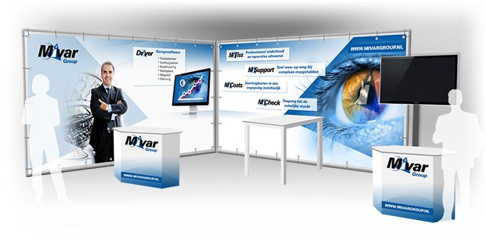 Voor Mivar Group heeft vdS visuele creatries een beursstand ontwerp verzorg.