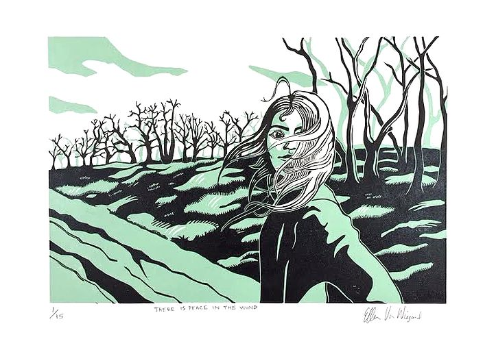 There is piece in the wind by Ellen VW, printmaking, prints, linocut, 2colours, forest, girl