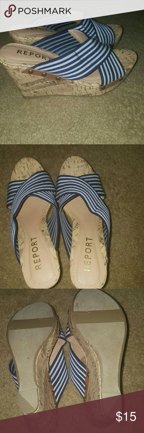 💕SALE💕Blue and white wedges Blue and white stripped wedges..... NWOT ✅Make an offer through OFFER button ONLY ✅Negotiations welcome 🚫No trades 🚫No PayPal Report Shoes Wedges