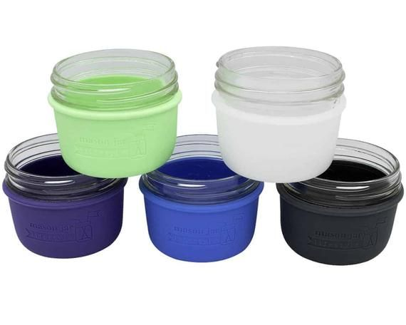Sleeve For Wide Mouth Half Pint Mason Jars Silicone Insulated