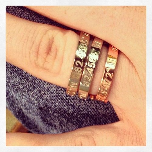 Coordinates ring available in rose, gold, and silver.