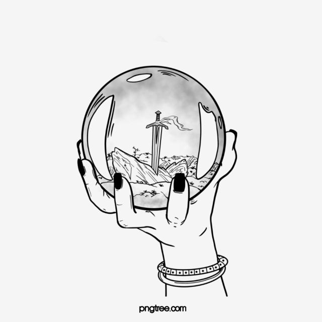 Hand Drawn Divination Crystal Glass Ball Hand Painted Black And White Line Png Transparent Clipart Image And Psd File For Free Download How To Draw Hands Ball Drawing Crystals