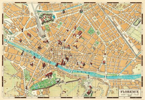 Mappa Di Firenze (Map of Florence) - Vintage Style Italian Map Poster Poster
