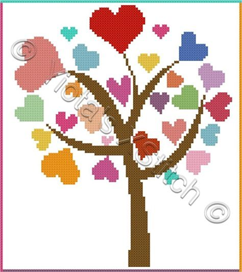 Love tree cross stitch