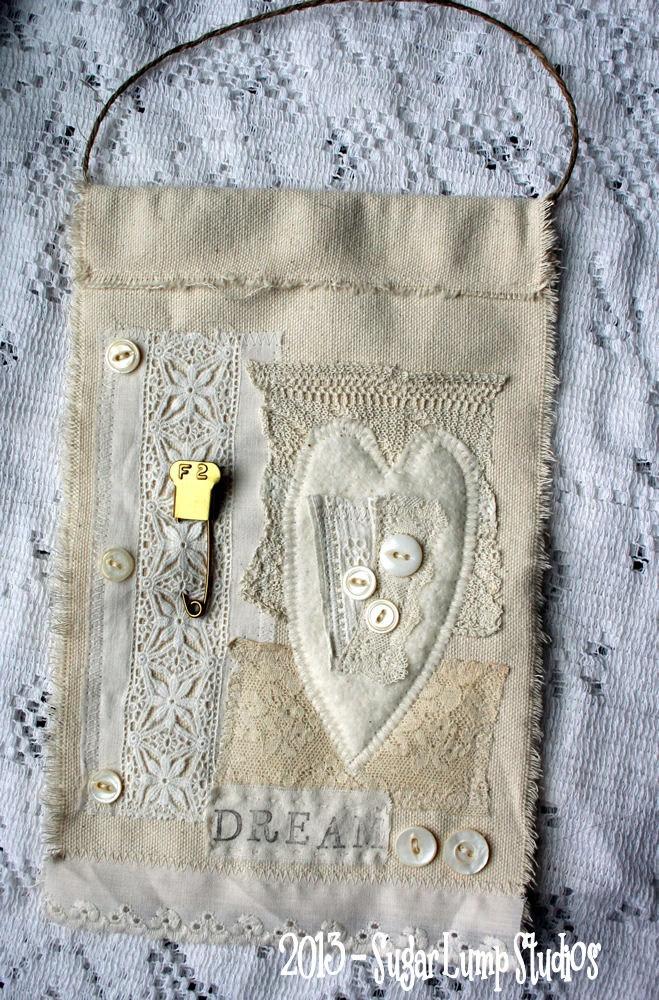 DREAM Fabric PRAYER flag using vintage laces