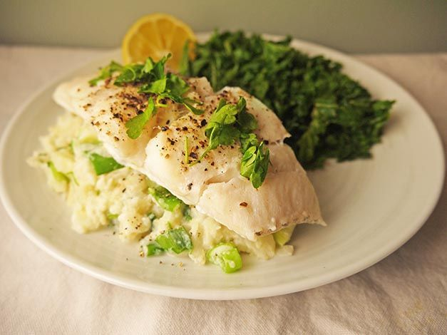 low cal oven steamed cod with celeriac champ 5-2 diet