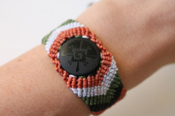 Macrame cuffmexican black obsidian stone with Hunab by SuryaSoul