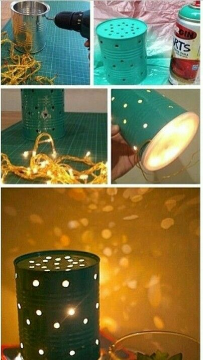 DIY firefly light So cute an easy! Just poke holes in a tin can and put in Christmas lights!