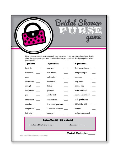 Printable Bridal Shower Purse Game - A scavenger hunt through purses - a perfect ice breaker game! #bridalshowergames #bridalshower