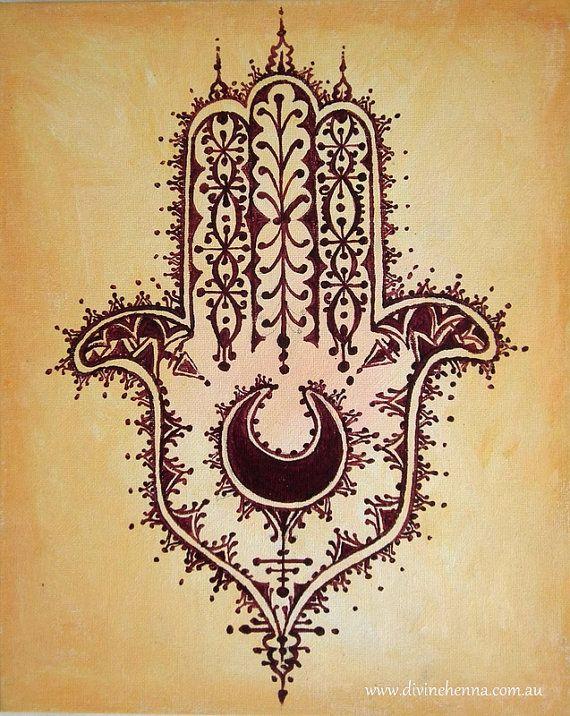 Desert Hamsa  hand of fatima henna style painting by DivineHenna, $30.00