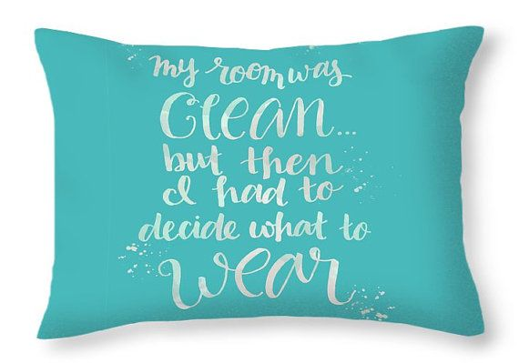 Teal Throw Pillow Dorm Decor Bedroom Decor Teen by Paintspiration