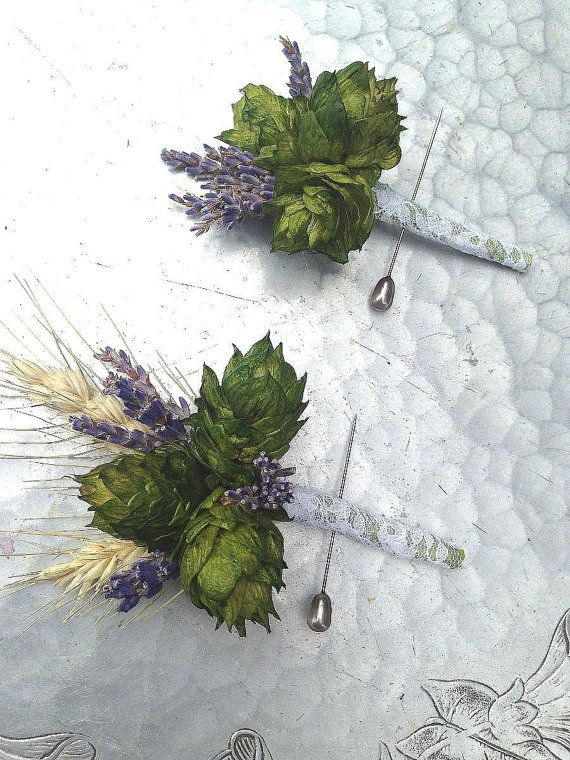 Boutonniere hops and wheat by bohemianbouquets on Etsy