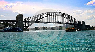 A view of the famous Sidney Bridge spanning Sidney Harbour in New South Wales Australia