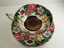Paragon Tea Cup and Saucer. Rose Floral Bouquet Pattern. Wide Rimmed. England