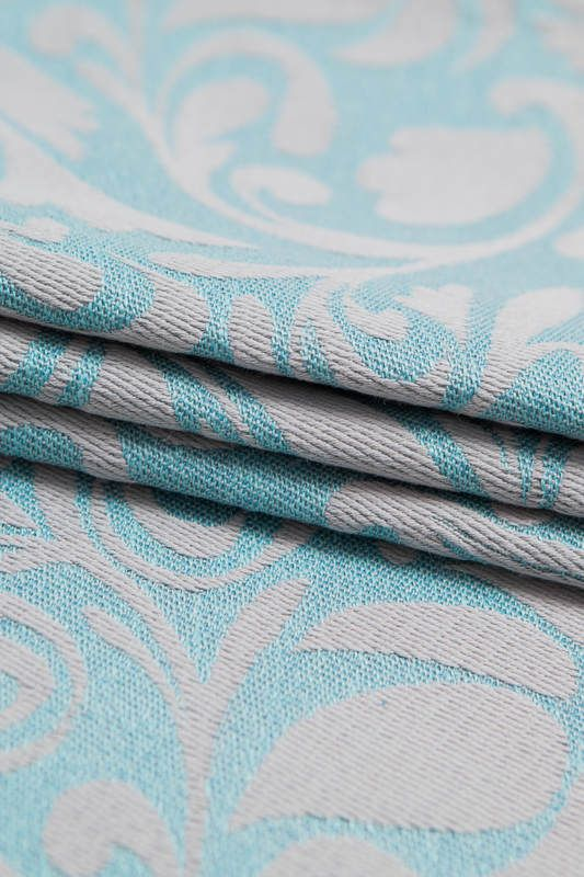 JACQUARD WEAVE (60% COTTON 28% LINEN 12% TUSSAH SILK) - TWISTED LEAVES GREY & TURQUOISE