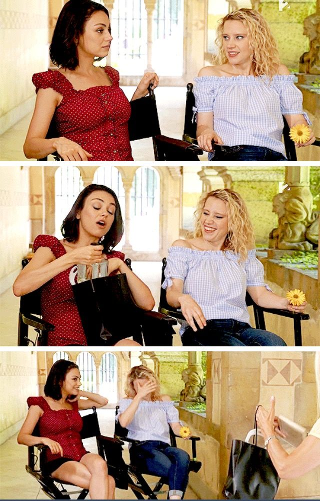 Mila Kunis Mila and Kate McKinnon during an interview for Hello Hollywood in Budapest. ( August 2017 ) shared to groups 9/7/17