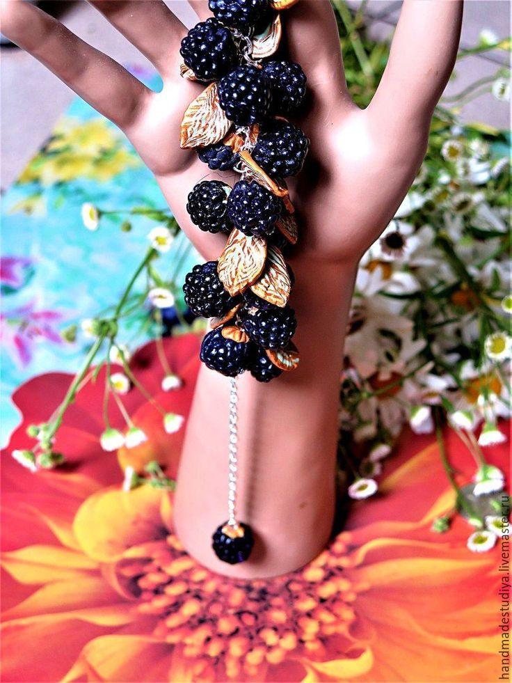 Купить Браслет Ежевика - черный, браслет, браслет на руку, украшение, украшения ручной работы, Бижутерия