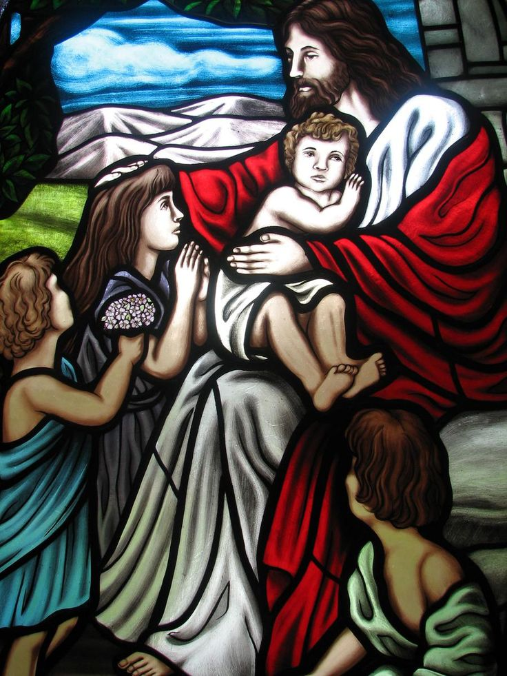 custom stained glass window jesus and the children