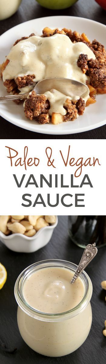 This paleo and vegan vanilla sauce is cashew-based, maple-sweetened and only takes 5 minutes to make! Grain-free, gluten-free and dairy-free.