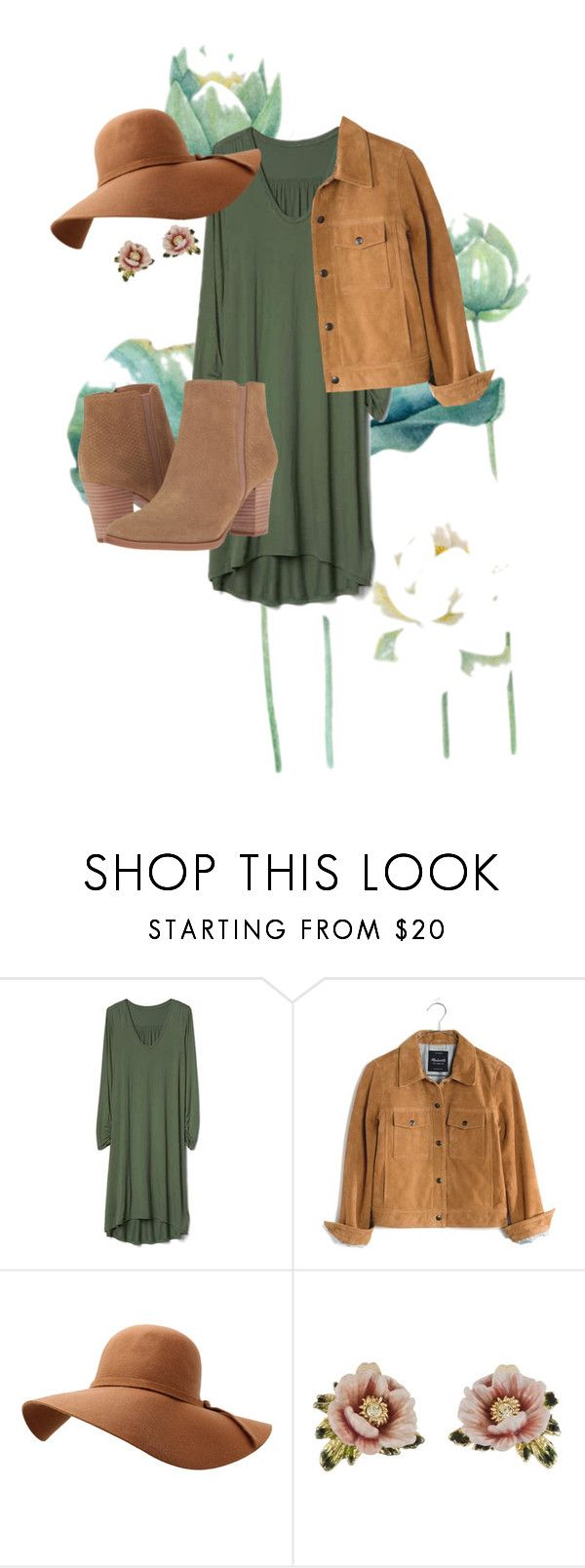 """did you love green ?"" by egyrayani ❤ liked on Polyvore featuring Gap, Madewell, Les Néréides and Franco Sarto"