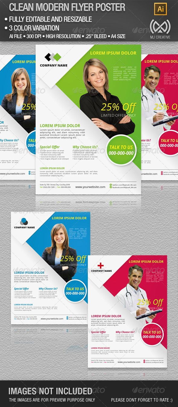 Clean Corporate Flyer & Poster  #GraphicRiver         This is vector based layout and can be enlarged or reduce the size without losing its quality. You can use this as poster, flyer, and other type of advertisement.  	 • Resizable • Ready to print • High quality Resolution • Fully Editable • 3 color Variation • A4 (8.27×11.69 inc) • bleed 0.25  	 Included in the download  	 • Ai File (adobe illustratior cs3 or later) • EPS • jpeg preview • PDF instruction  	 Free fonts used in the design…