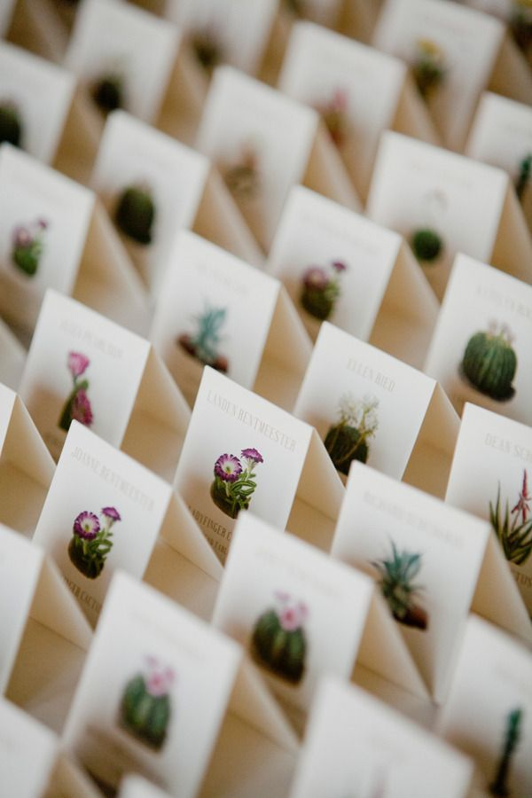 desert floral inspired seating cards