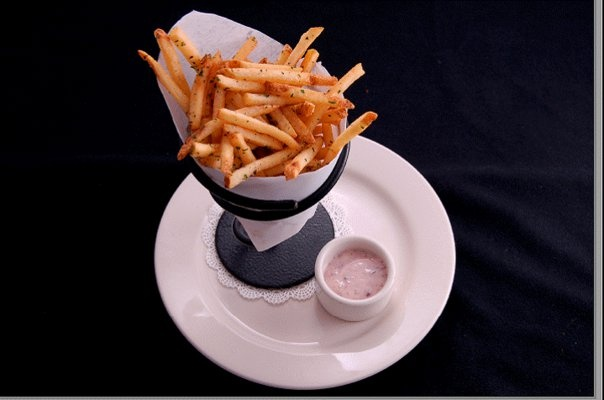 Nordstrom Kalamata Aioli (the one with the fries). Recipe (don't use the one in the link - the one I have is straight from the restaurant itself): 1 cup mayo, 1 T fresh chopped garlic, 1 t lemon juice, 1/4 cup pureed kalamata olives. Mix all and enjoy!