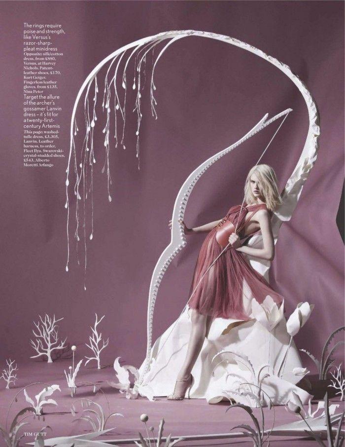 """Paper Plates"" Lara Mullen by Tim Gutt for British Vogue, with sets by Shona Heath"