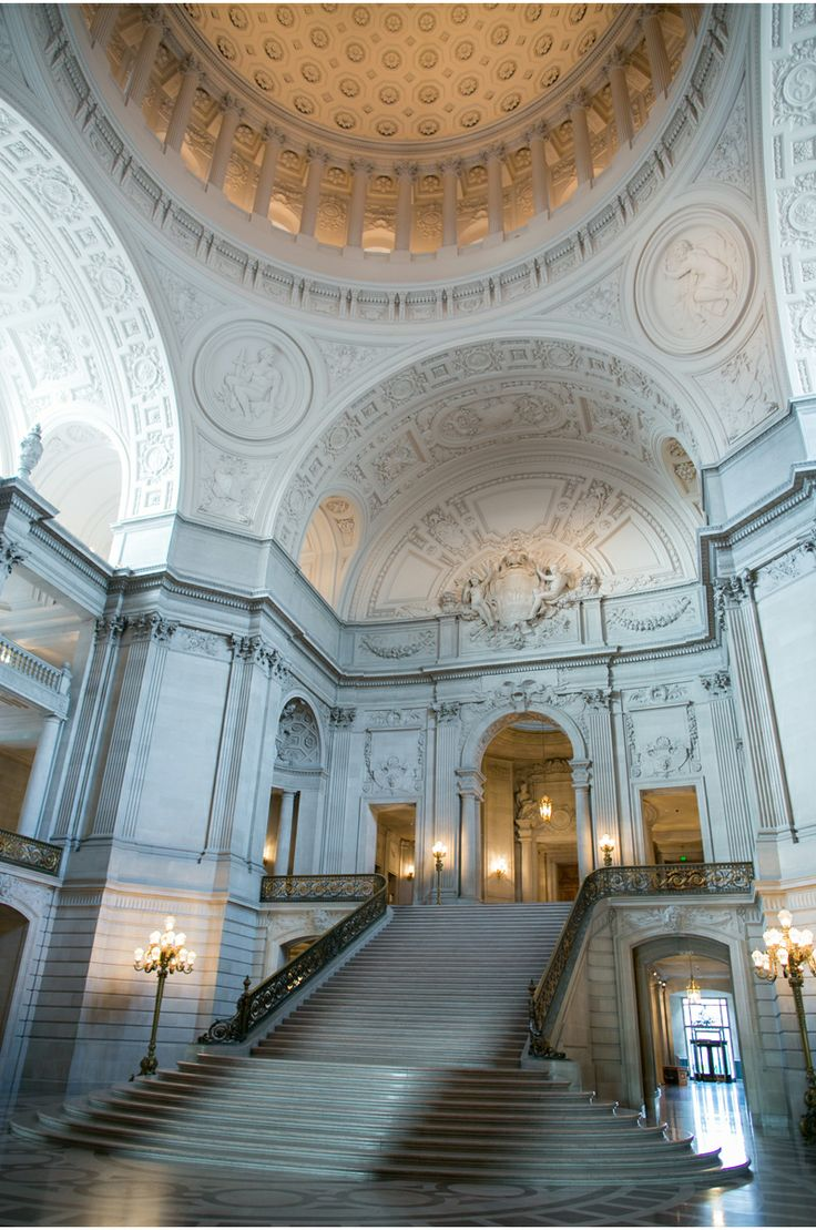 San Francisco City Hall LGBT wedding. One of the more picturesque halls and the forerunner of LGBT weddings. Amen.