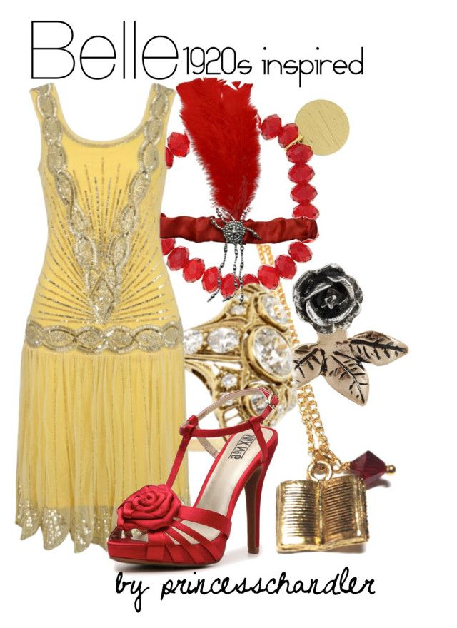 """""""Belle- 1920s inspired"""" by princesschandler ❤ liked on Polyvore featuring 1928, Pamela Love, Frock and Frill, Mix No. 6, belle, 20s, roaring 20s, 1920s and disneybound"""