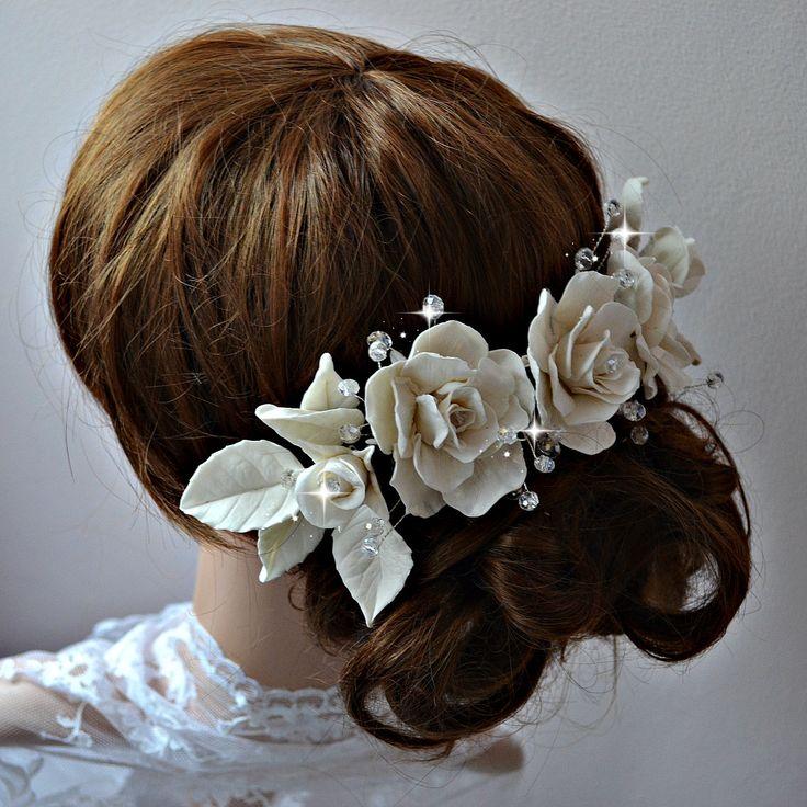 Bridal headpiece, Romantic wedding hair piece, Bridal hair adornmets, Large bridal hair comb, Porcelain hair roses, Summer wedding headpiece - pinned by pin4etsy.com