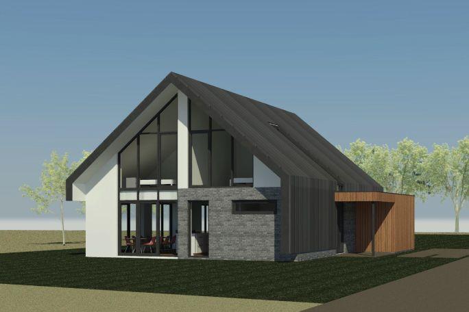 Nieuwbouw schuurwoning in Ermelo   Ontwerp voor een nieuw te bouwen schuurwoning in Ermelo.