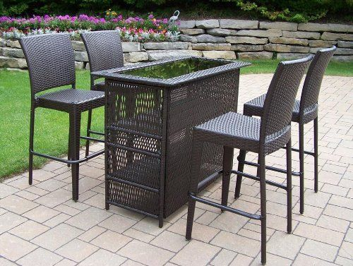 Elite Resin Wicker 5-Piece Bar Set by Oakland Living. $1258.88. Fade, chip and crack resistant. Stainless steel hardware. Traditional lattice weave pattern. Includes bar table and four bar stools. Warranty: One year limited. 90053-90054-5-CF Our all weather resin wicker sets are the perfect edition to any setting. Adds beauty, style and functionality to your home, garden or back yard patio. Ideal for indoors or out. This set is made of all weather resin wicker an...