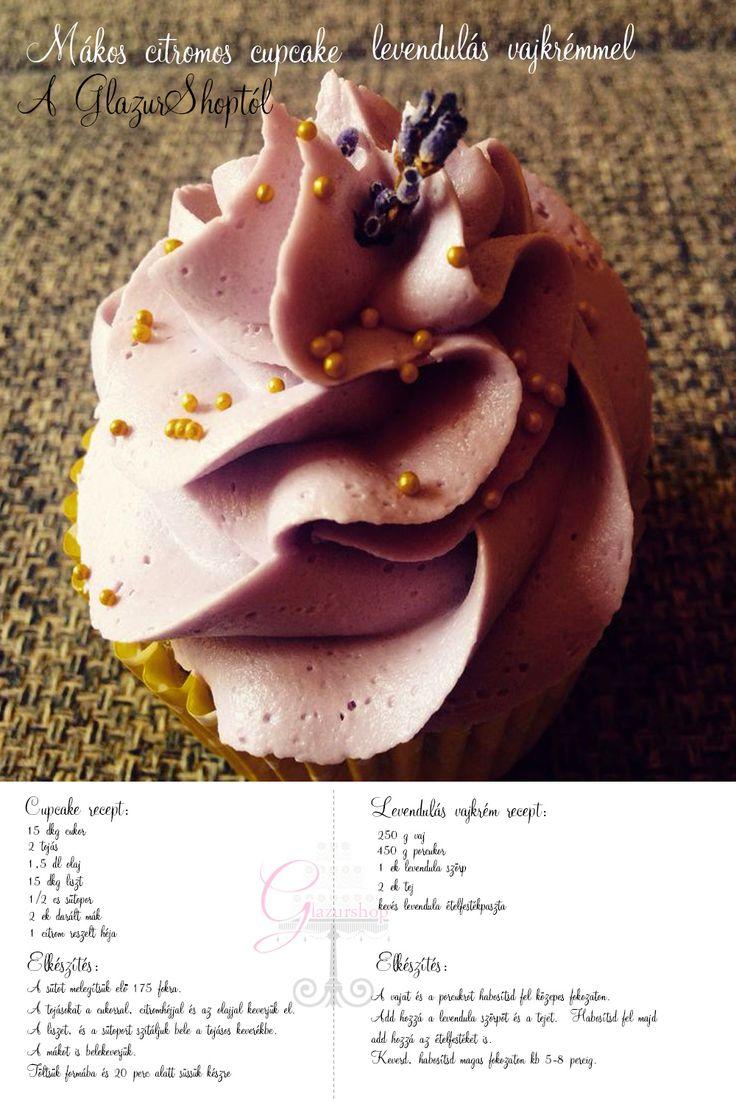 Mákos citromos cupcake, levendulás vajkrémmel
