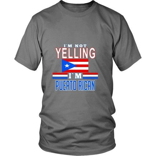 Show off your Puerto Rican heritage wearing I'm not yelling I'm Puerto Rican tee or hoodie. Cool Men Women Puerto Rico inspired t-shirts & apparel by TeeLime.