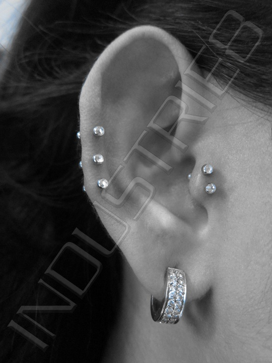 double tragus & triple forward helix ♥