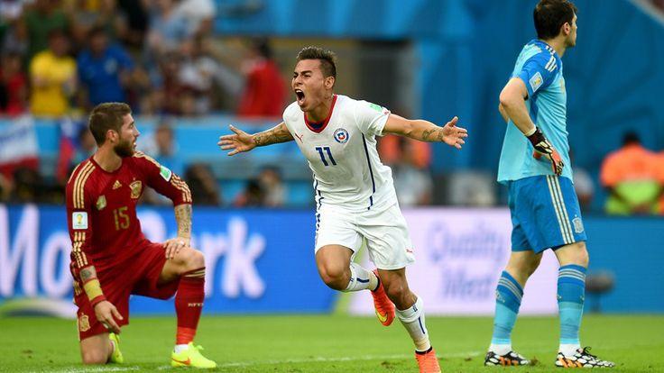 Eduardo Vargas of Chile celebrates after scoring