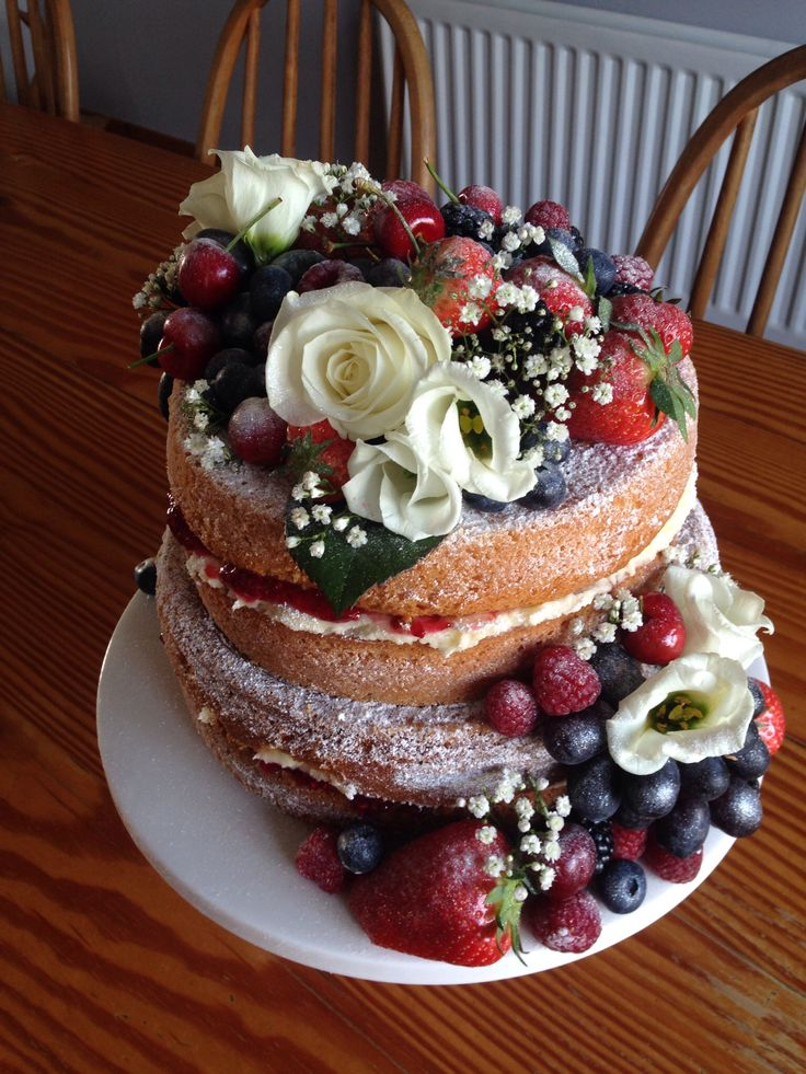 Engagement cake for my brother. Victoria sponge with fresh flowers and fruit.