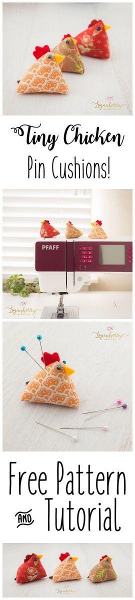 Chicken Pin Cushion + Tutorial + Free Pattern, Sewing Pin Cushions, Farm Animals, DIY Pin Cushion, Bean Bag Pin Cushion, Sewing for Crafters, Sewing Small Projects, Sewing Gifts