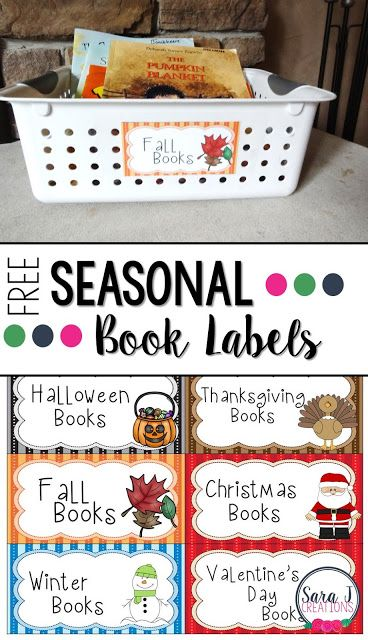 Free Seasonal Book Labels   The teacher in me loves organization. Everything labeled and in the correct place. And sometimes that carries over at home and I have to label our seasonal books when I pull them out. If you could use some season book labels head to my blog to grab your FREE seasonal books labels.   book bin labels books free labels Holiday holidays PreK-2 Sara J Sara J Creations seasonal