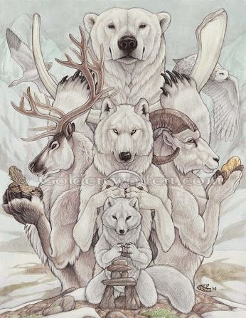 TOTEM ARTICO  El respeto es un elemento clave para la espiritualidad inuit; es un pilar para el mantenimiento de buenas relaciones con el mundo de los espíritus, y con los elementos naturales (los animales, el agua), así como con los elementos físicos.