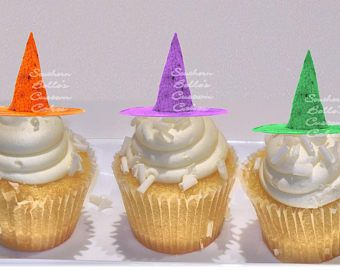 Stampato commestibile Streghe cappello Cupcake Toppers-custom commestibile halloween torta topper commestibili stampato Streghe cappello, decorazioni di cappelli a cilindro commestibili del biscotto
