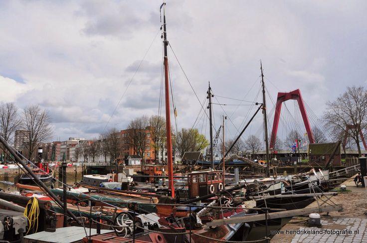 Oude haven met op de achtergrond de Willemsbrug in Rotterdam